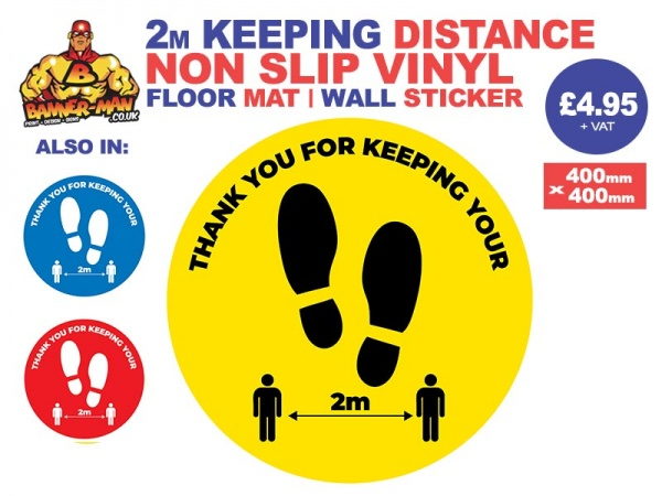 Keeping Distance Footprint  Floor Mat Sticker Yellow