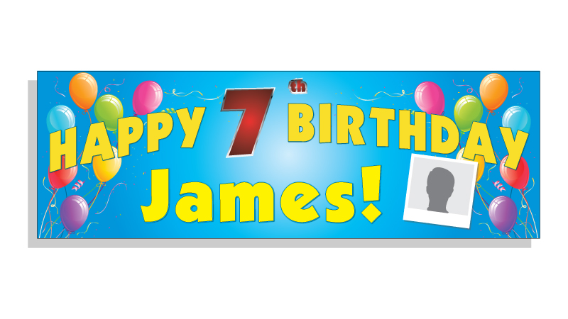 Happy Birthday Banner Blue - Custom text & Photo