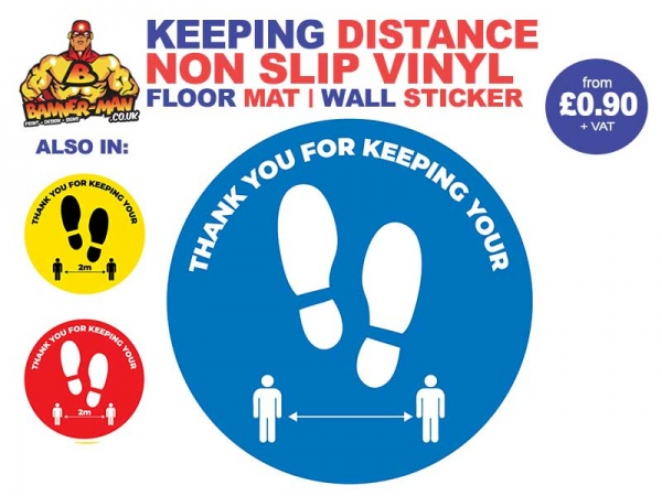 Keeping Distance Footprint  Floor Mat Sticker Blue