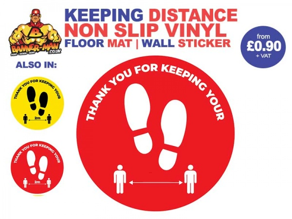 Keeping Distance Footprint  Floor Mat Sticker Red