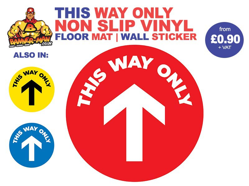 This Way Only Floor Mat Sticker Red