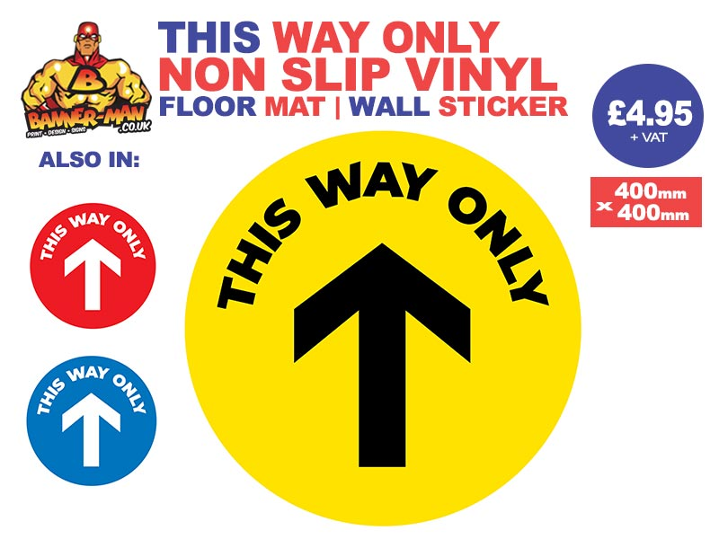 This Way Only Floor Mat Sticker Yellow