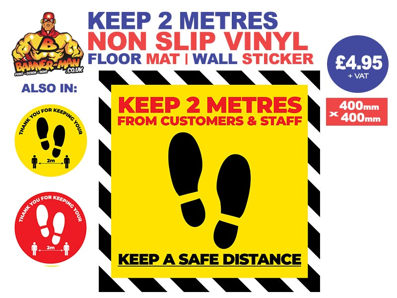 Keep 2 Metres Footprint  Floor Mat Sticker Yellow Warning Stripes