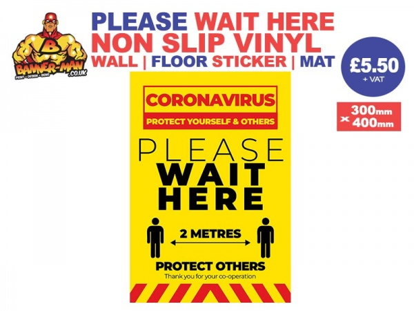 Please Wait Here Covid Retail Wall Sticker